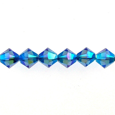 Swarovski Crystal 4mm Bicone Bead 5328 - Sapphire AB 2X - Blue - Transparent Double Iridescent Finish