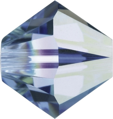 Swarovski Crystal 4mm Bicone Bead 5328 - Light Sapphire AB - Pale Blue - Transparent Iridescent Finish