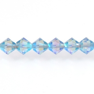 Swarovski Crystal 4mm Bicone Bead 5328 - Light Sapphire AB 2X - Transparent Double Iridescent Finish