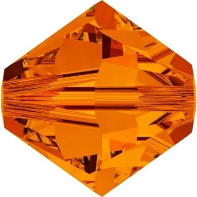 Swarovski Crystal 4mm Tangerine Orange Bicone Bead 5328 with Transparent Finish