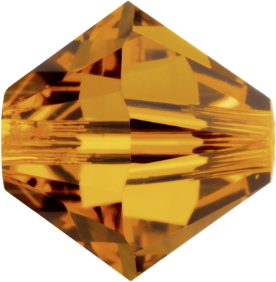 Swarovski Crystal 4mm Bicone Bead 5328 - Topaz - Gold - Transparent Finish