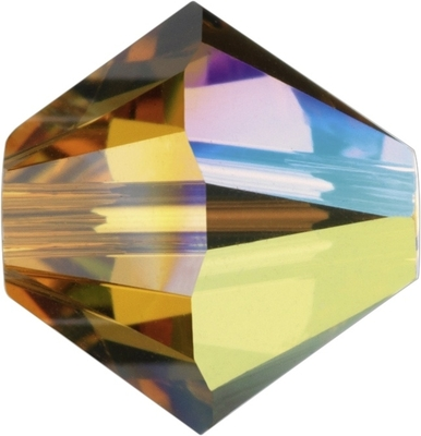 Swarovski Crystal 4mm Bicone Bead 5328 - Topaz AB - Gold - Transparent Iridescent Finish