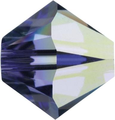 Swarovski Crystal 4mm Bicone Bead 5328 - Tanzanite AB - Bluish Purple - Transparent Iridescent Finish