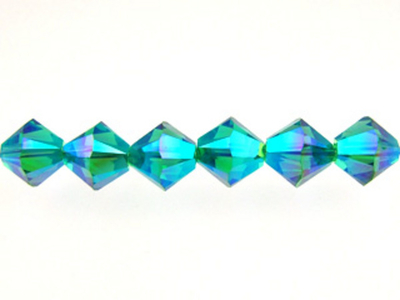 Swarovski Crystal 4mm Bicone Bead 5328 - Blue Zircon AB 2X - Blue Green - Transparent Double Iridescent Finish