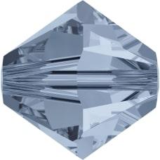 Swarovski Crystal 5mm Bicone Bead 5328 - Denim Blue - Transparent Finish