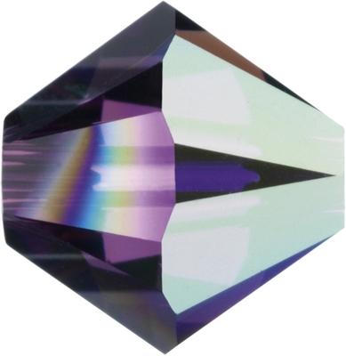 Swarovski Crystal 5mm Bicone Bead 5328 - Amethyst AB - Dark Purple - Transparent Iridescent Finish