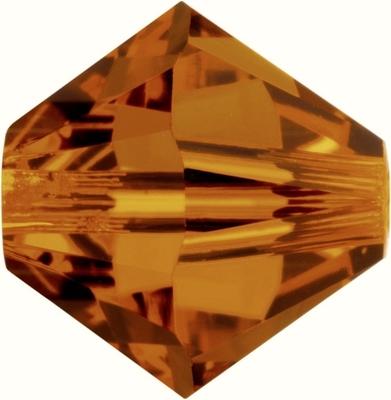 Swarovski Crystal 5mm Bicone Bead 5328 - Crystal Copper - Transparent Iridescent Finish
