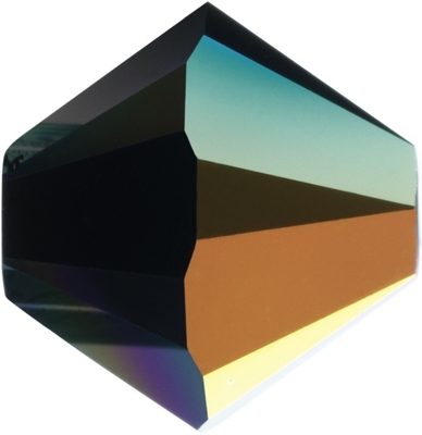 Swarovski Crystal 5mm Bicone Bead 5328 - Jet AB - Black - Opaque Iridescent Finish