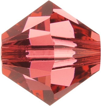 Swarovski Crystal 5mm Bicone Bead 5301 and 5328 - Padparadscha - Bright Peach Pink - Transparent Finish | Harlequin Beads and Jewelry