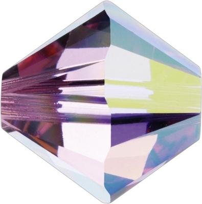 Swarovski Crystal 5mm Rose AB Bicone Bead 5328 - Transparent Iridescent