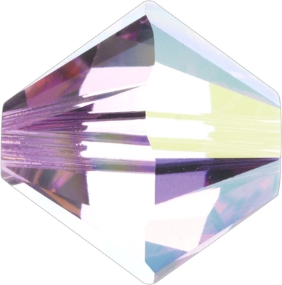 Swarovski Crystal 5mm Bicone Bead 5328 - Light Rose AB - Light Pink - Transparent Iridescent Finish