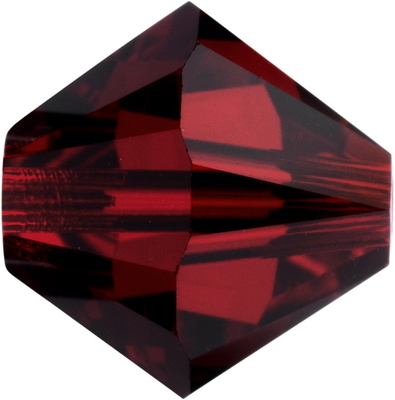 Swarovski Crystal 5mm Bicone Bead 5328 - Siam - Deep Red - Transparent Finish