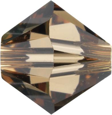 Swarovski Crystal 5mm Bicone Bead 5328 - Light Smoked Topaz - Brown - Transparent Finish