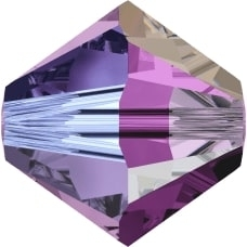 Swarovski Crystal 6mm Bicone Bead 5328 - Amethyst AB 2X - Dark Purple - Transparent Double Iridescent Finish