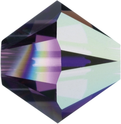 Swarovski Crystal 6mm Bicone Bead 5328 - Amethyst AB - Dark Purple - Transparent Iridescent Finish