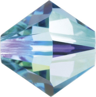 Swarovski Crystal 6mm Bicone Bead 5328 - Aquamarine AB - Aqua Blue - Transparent Iridescent Finish