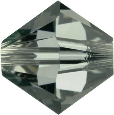 Swarovski Crystal 6mm Bicone Bead 5328 - Black Diamond - Grey - Transparent Finish