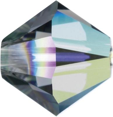 Swarovski Crystal 6mm Bicone Bead 5328 - Black Diamond AB - Grey -Transparent Iridescent Finish