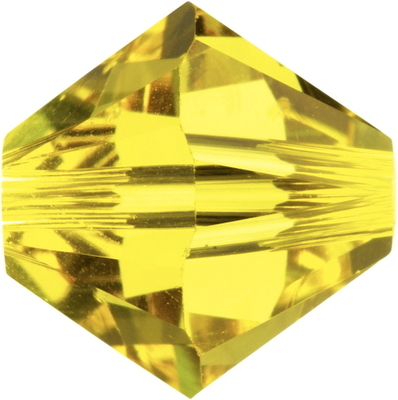 Swarovski Crystal 6mm Citrine Yellow Bicone Bead 5328 - Transparent