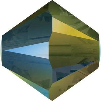 Swarovski 6mm Crystal Iridescent Green Bicone Bead 5328 Transparent with Finish