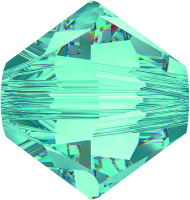 Swarovski Crystal 6mm Bicone Bead 5328 - Light Turquoise - Transparent Finish