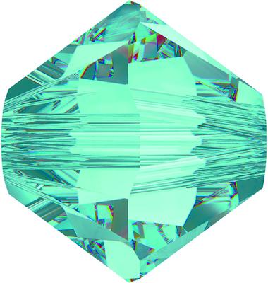 Swarovski Crystal 6mm Bicone Bead 5328 - Light Turquoise - Transparent Finish
