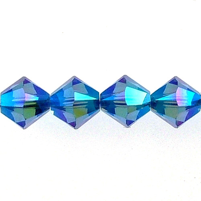 Swarovski Crystal 6mm Bicone Bead 5328 - Sapphire AB 2X - Blue- Transparent Double Iridescent Finish