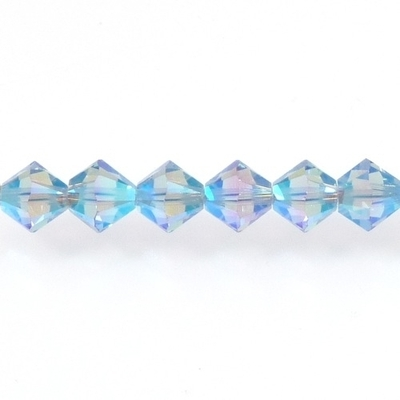 Swarovski Crystal 6mm Bicone Bead 5328 - Light Sapphire AB 2X - Pale Blue - Transparent Double Iridescent Finish