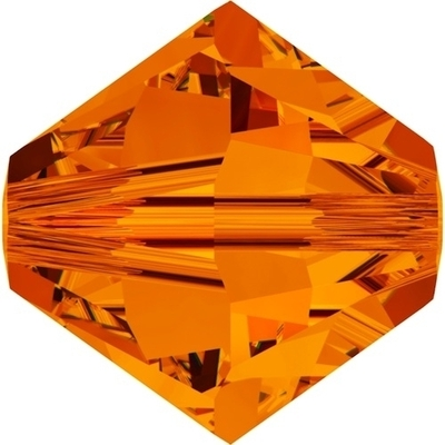 Swarovski Crystal 6mm Tangerine Orange Bicone Bead 5328 with Transparent Finish