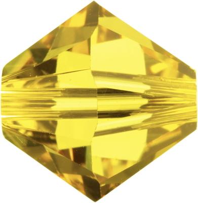 Swarovski Crystal 6mm Bicone Bead 5328 - Light Topaz - Light Gold - Transparent Finish