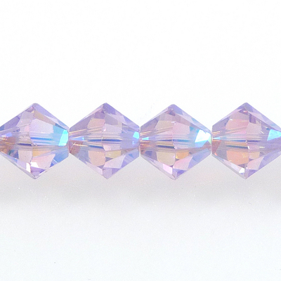 Swarovski Crystal 6mm Bicone Bead 5328 - Violet AB 2X - Purple - Transparent Double Iridescent Finish