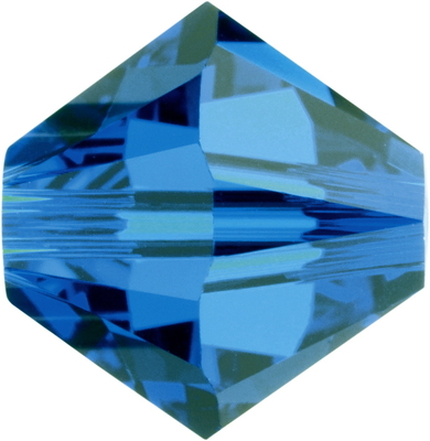 Swarovski Crystal 8mm Bicone Bead 5328 - Capri Blue - Transparent Finish