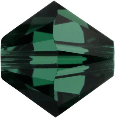 Swarovski Crystal 8mm Bicone Bead 5328 - Emeral - Dark Green - Transparent Finish