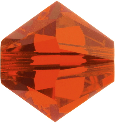 Swarovski Crystal 8mm Bicone Bead 5328 - Hyacinth - Orange - Transparent Finish