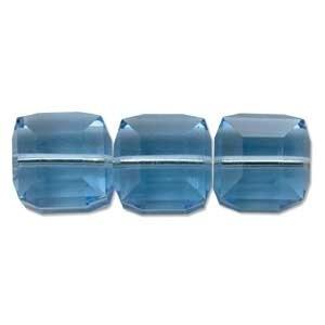 Swarovski Crystal 4mm Cube Bead 5601 - Aquamarine - Aqua Blue - Transparent Finish