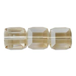 Swarovski Crystal 4mm Cube Bead 5601 - Crystal Golden Shadow - Transparent with Finish