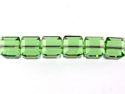 Swarovski Crystal 4mm Cube Bead 5601 - Peridot - Light Green - Transparent Finish