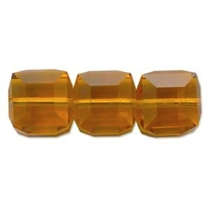 Swarovski Crystal 4mm Cube Bead 5601 - Topaz - Gold - Transparent Finish