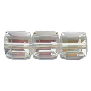 Swarovski Crystal 6mm Cube Bead 5601 - Crystal AB - Clear - Transparent Iridescent Finish