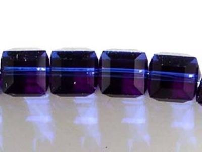 Swarovski Crystal 6mm Cube Bead 5601 - Dark Indigo - Deep Blue - Transparent Finish