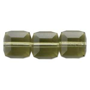 Swarovski Crystal 6mm Cube Bead 5601 - Khaki - Green - Transparent Finish - Closeout Clearance Sale