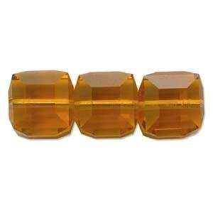 Swarovski Crystal 6mm Cube Bead 5601 - Topaz - Gold - Transparent Finish