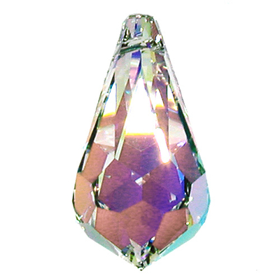 Swarovski Crystal 28x14mm Teardrop Pendant 6000 - Crystal AB - Clear - Transparent Iridescent Finish | Harlequin Beads and Jewelry