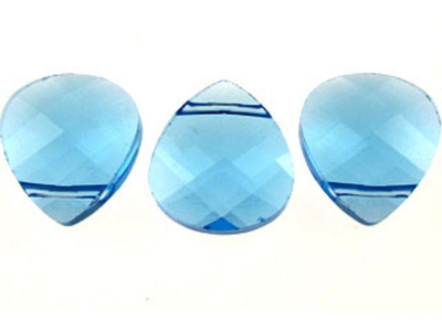 Swarovski Crystal 11x10mm Flat Briolette Pendant 6012 - Aquamarine - Aqua Blue - Transparent Finish