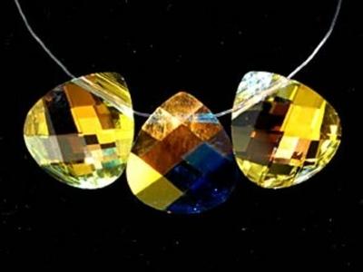 Swarovski Crystal 11x10mm Flat Briolette Pendant 6012 - Crystal AB - Clear - Transparent Finish