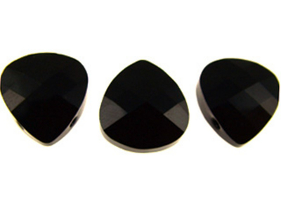 Swarovski Crystal 11x10mm Flat Briolette Pendant 6012 - Jet - Black - Opaque Finish