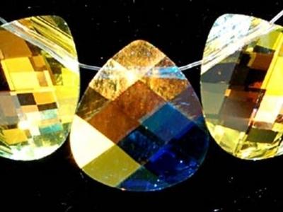 Swarovski Crystal 15x14mm Flat Briolette Pendant 6012 - Crystal AB - Clear - Transparent Finish