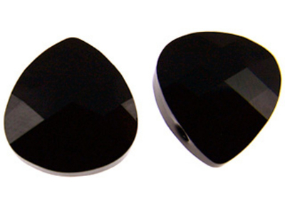 Swarovski Crystal 15x14mm Flat Briolette Pendant 6012 - Jet - Black - Opaque Finish
