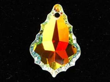 Swarovski Crystal 28x20mm Flat Baroque Pendant 6091 - Crystal AB - Clear - Transparent Iridescent Finish   Harlequin Beads and Jewelry