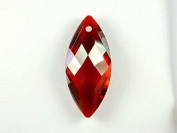 Swarovski Crystal 30x14mm Navette Pendant 6110 - Crystal Red Magma - Transparent with Finish | Harlequin Beads and Jewelry